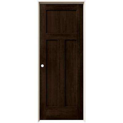 24 in. x 80 in. Craftsman Espresso Stain Right-Hand Solid Core Molded Composite MDF Single Prehung Interior Door