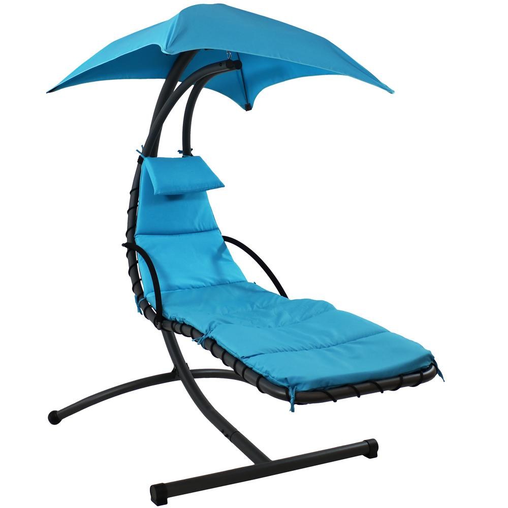 Swell Sunnydaze Decor Steel Outdoor Floating Chaise Lounge Chair With Polyester Teal Cushions And Canopy Machost Co Dining Chair Design Ideas Machostcouk
