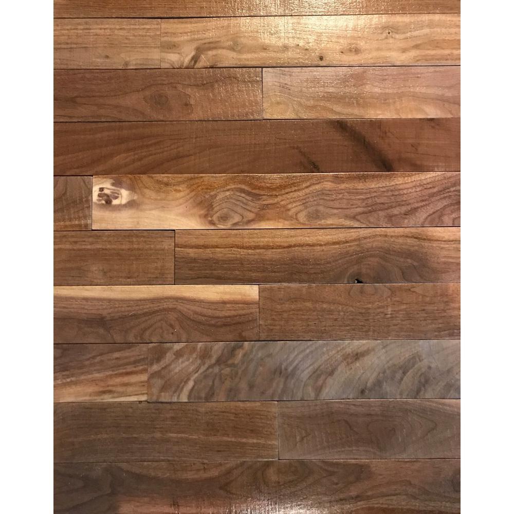 Shiplap Plank 0.5 in. H x 3.5 in. W x 12 in. 36 in. L Walnut Wood Wall Planks (20 sq. ft. / case)