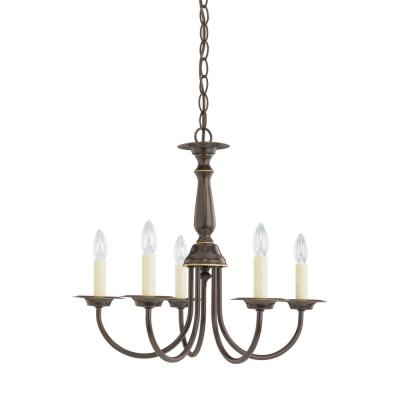 Traditional 18.5 in. W. 5-Light Heirloom Bronze Chandelier with Dimmable Candelabra LED Bulb