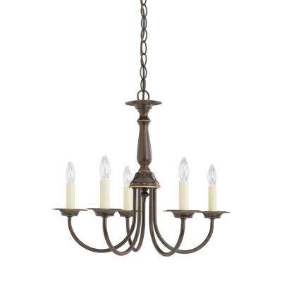 Traditional 18.5 in. W. 5-Light Heirloom Bronze Chandelier