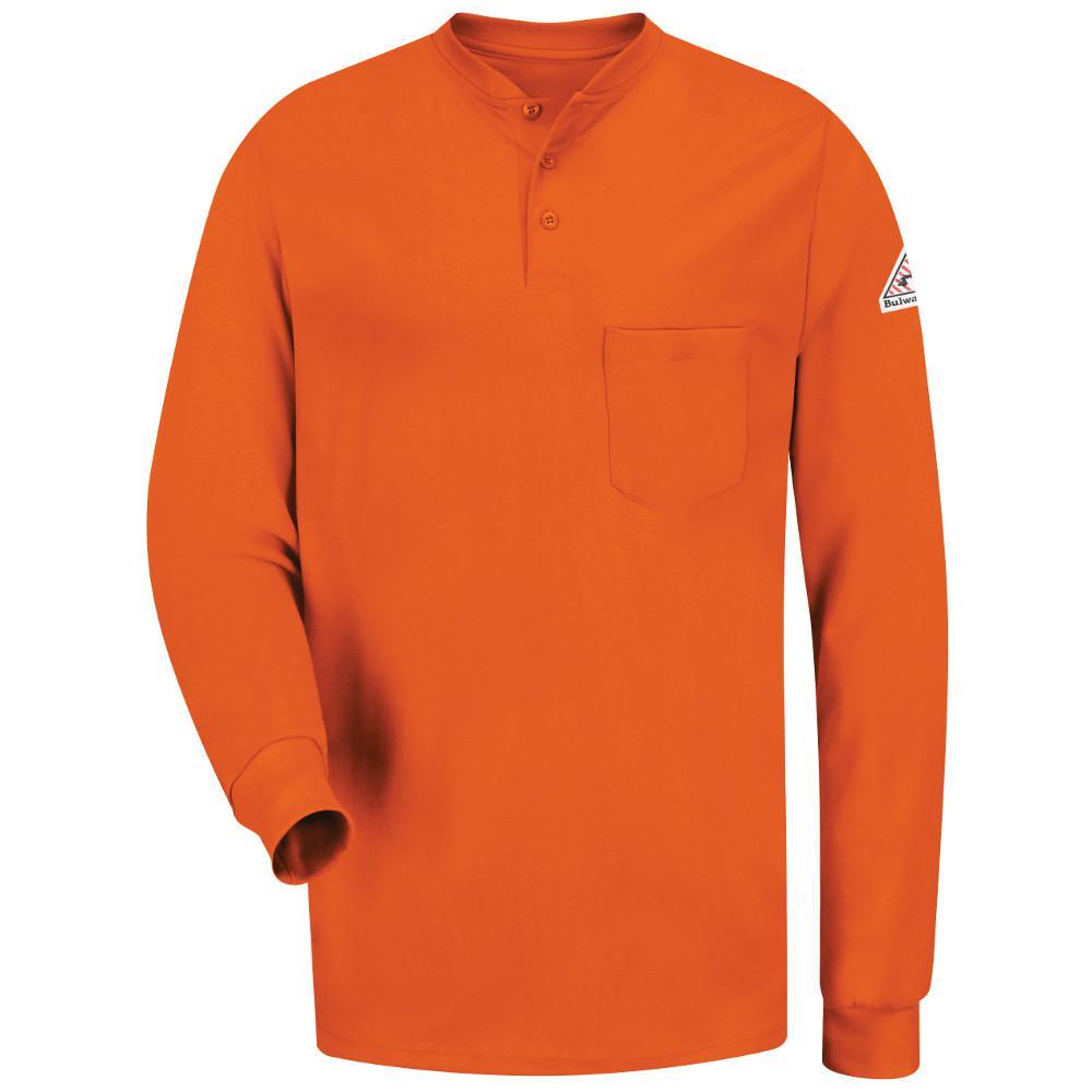 7af79a83 Bulwark EXCEL FR Men's Large (Tall) Orange Long Sleeve Tagless Henley Shirt