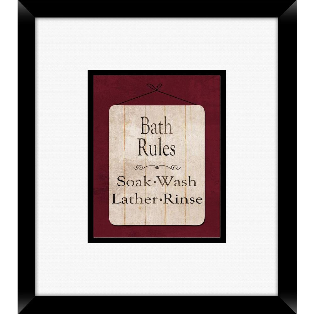 "18 in. x 16 in. ""Bath Rules A"" Framed Wall Art"