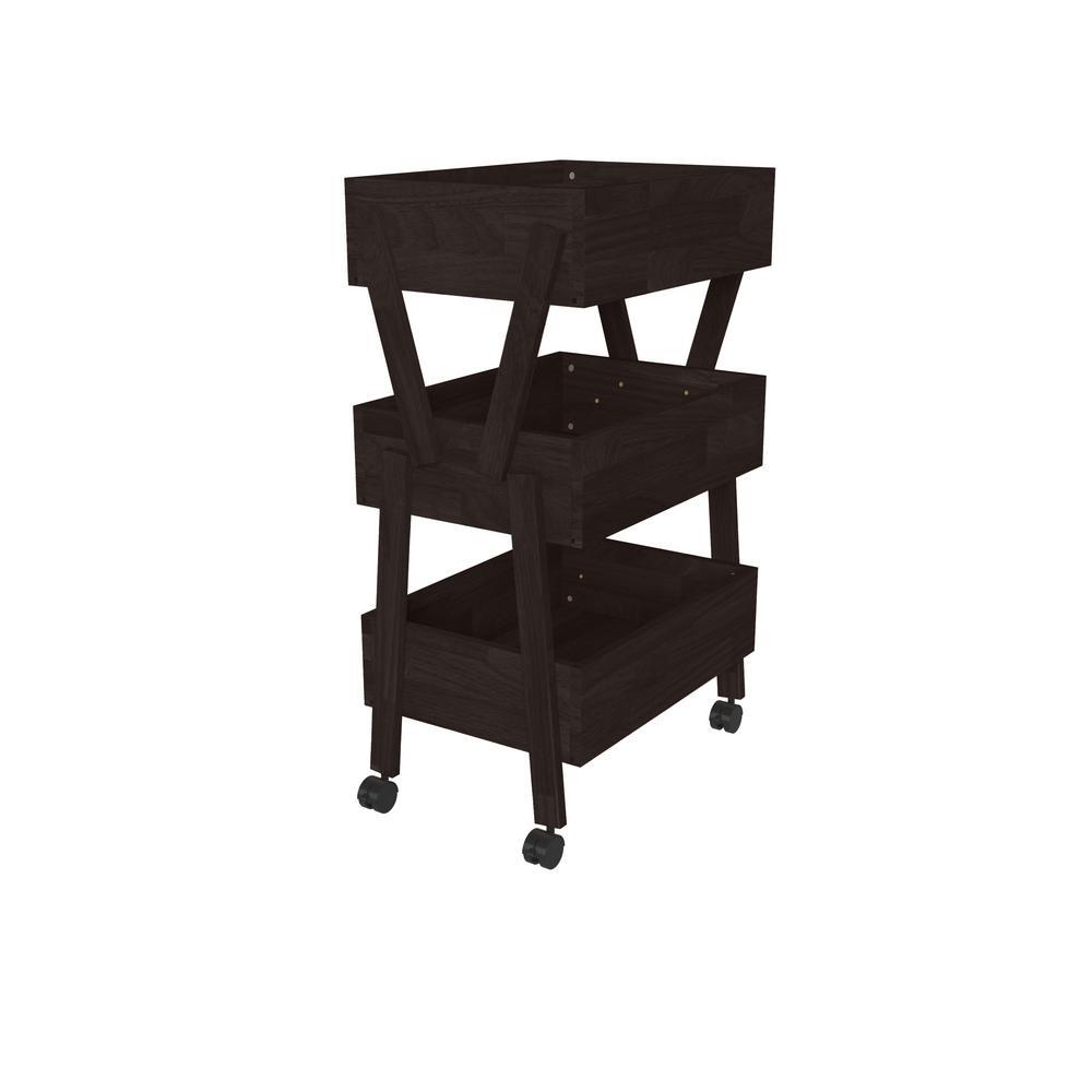 Freemont 37.6 in. Dark Espresso Solid Wood 3-Shelf Storage Cart