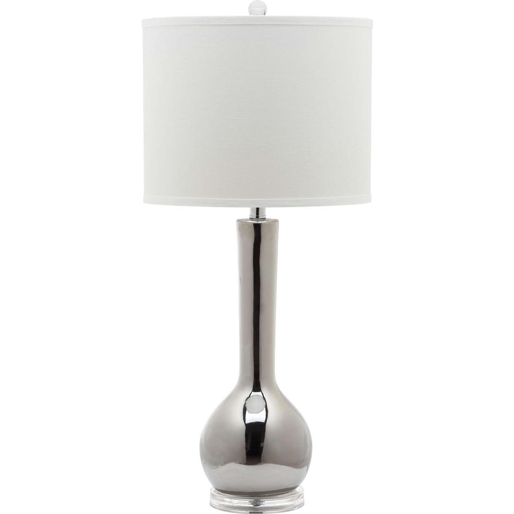 Safavieh Mae 30.5 in. Silver Long Neck Table Lamp with Wh...