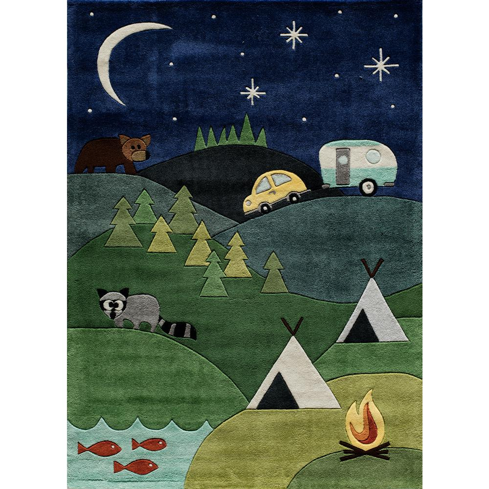 Momeni Lil Mo Whimsy Camping Fun Blue 5 Ft X 7 Indoor Kids