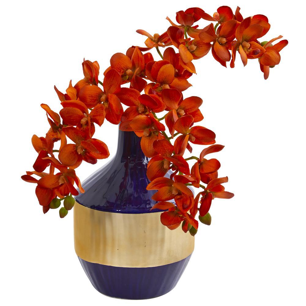 Phalaenopsis Orchid Artificial Arrangement in Blue and Gold Designer Vase