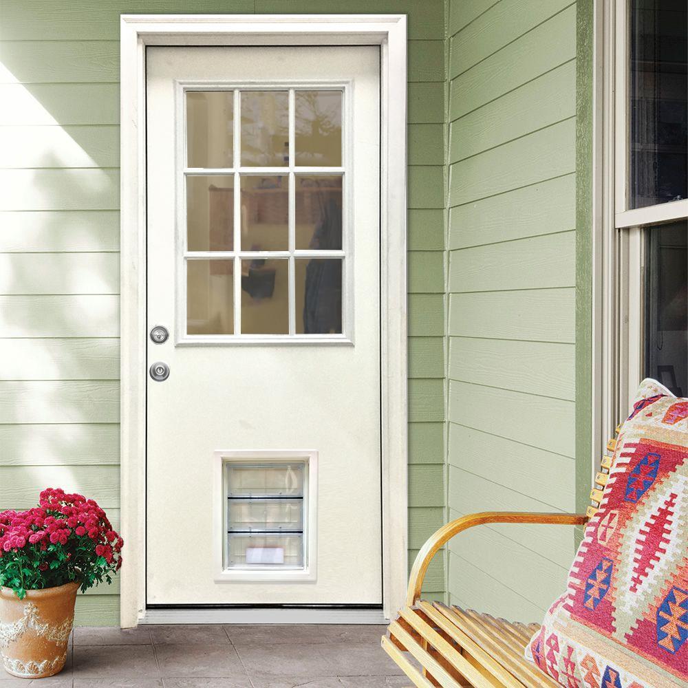 36 in. x 80 in. Classic Clear 9 Lite RHIS White Primed Fiberglass Prehung Back Door with XL Pet Door