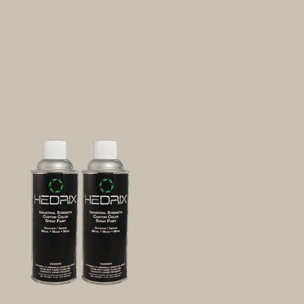 Hedrix 11 oz. Match of QE-50 Gull Gray Flat Custom Spray Paint (8-Pack)