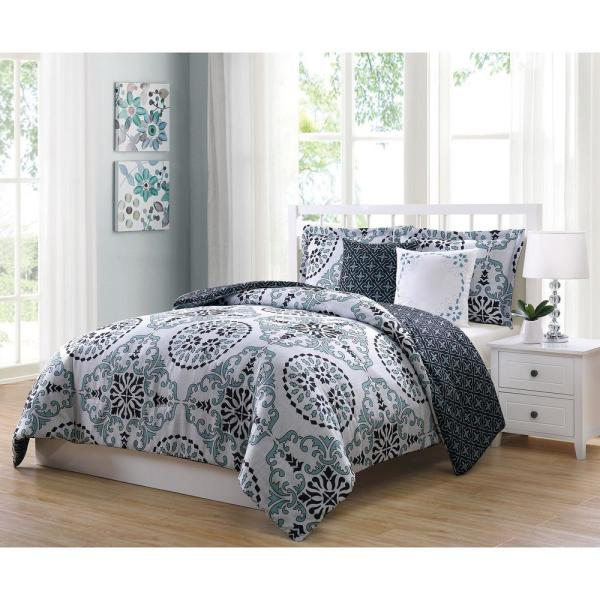 Bailey Blue,Gray and Black 5-Piece Reversible Full and Queen Comforter Set