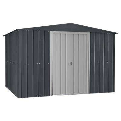 Gable 10 ft. x 12 ft. Slate Gray Metal Shed