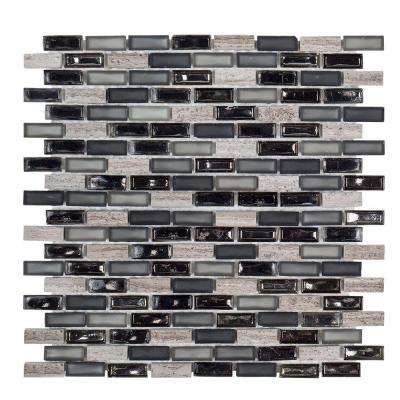 Coal Mine 11.75 in. x 12.25 in. x 6 mm Glass/Stone Mosaic Wall Tile