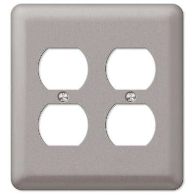 Steel 2 Duplex Wall Plate - Pewter