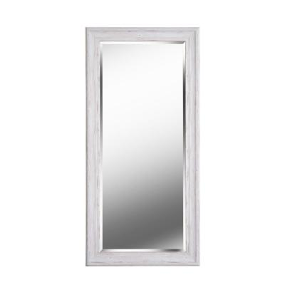 Oversized Rectangle Distressed White Wood Antiqued Beveled Glass Mirror (65 in. H x 31 in. W)