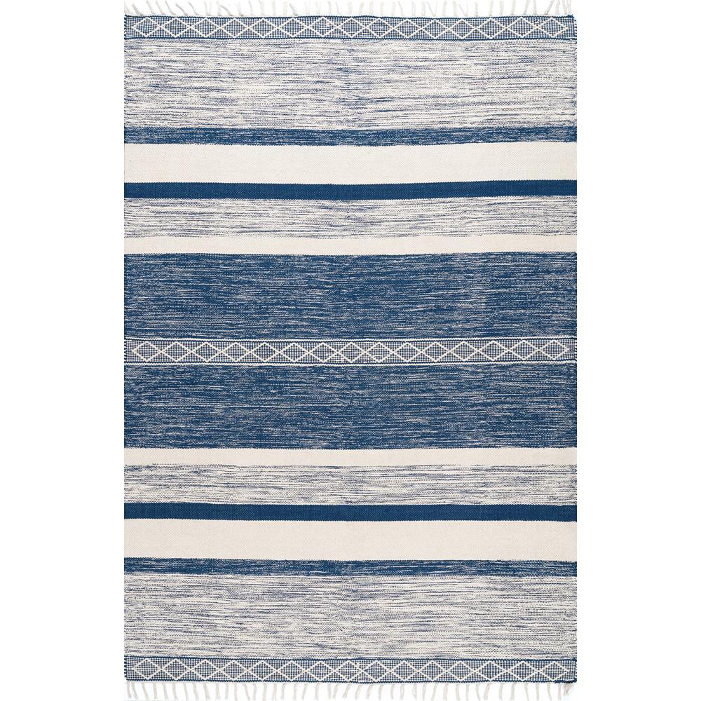 Angela Striped Fringe Blue 8 ft. x 10 ft. Area Rug