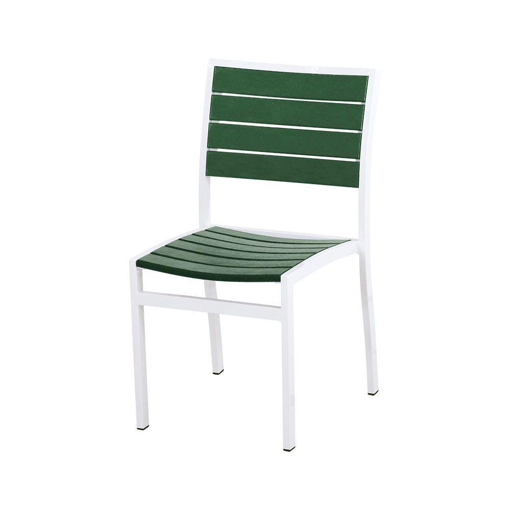 Euro Satin White/Green Metal Outdoor Patio Dining Chair