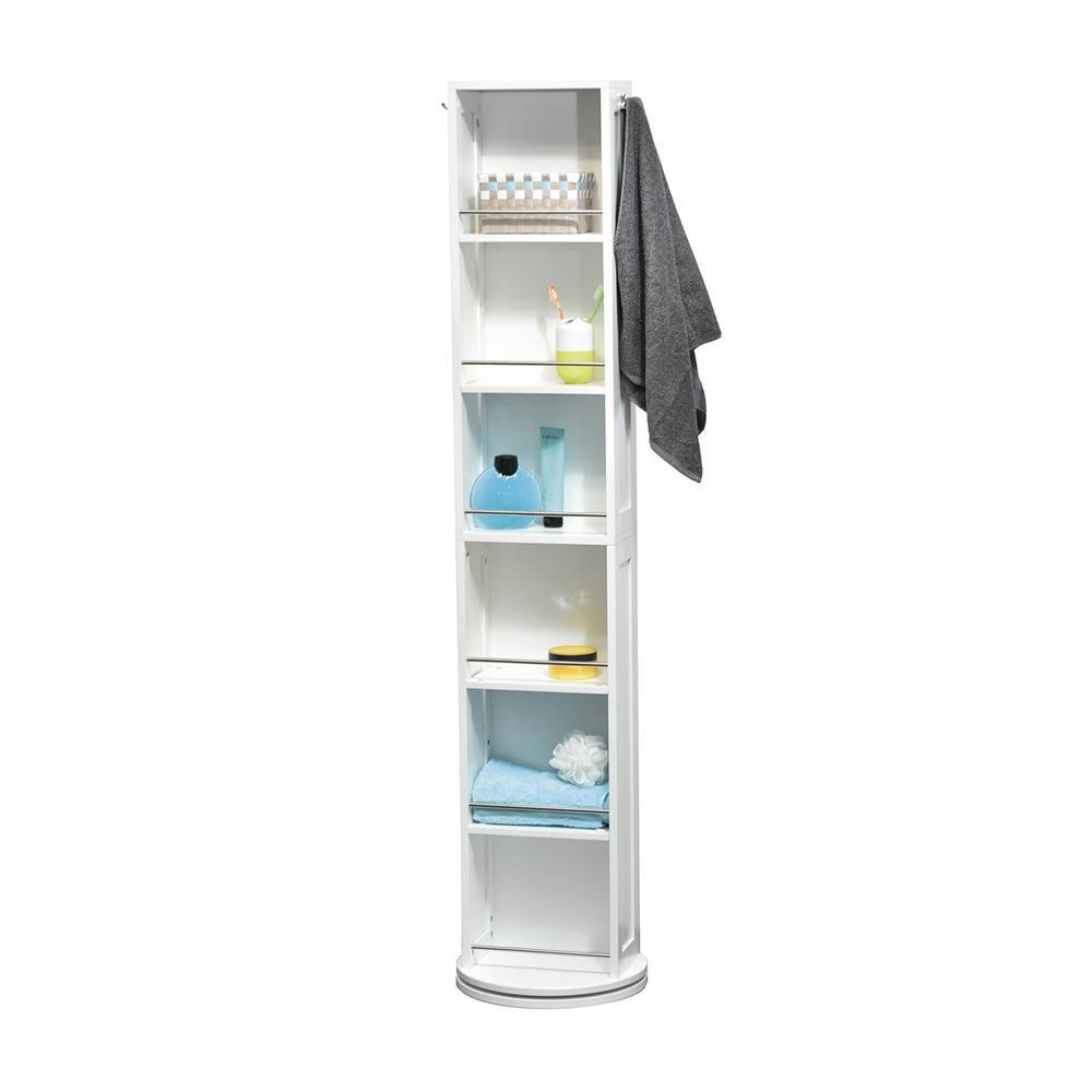 11.81 in. L x 6.89 in. W x 66.73 in. H Swivel Storage Cabinet Organizer Tower Free Standing Linen Tower Mirror in White