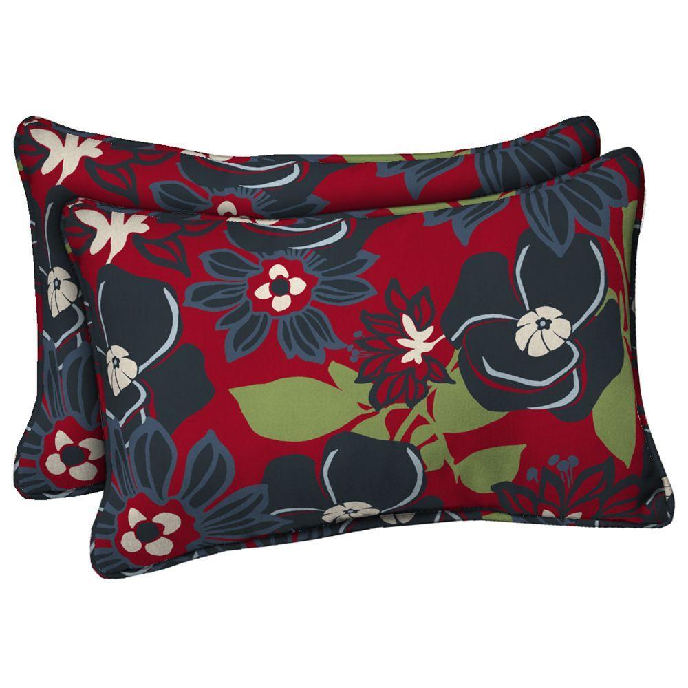 Hampton Bay Grande Modern Floral Outdoor Lumbar Pillow (2-Pack)
