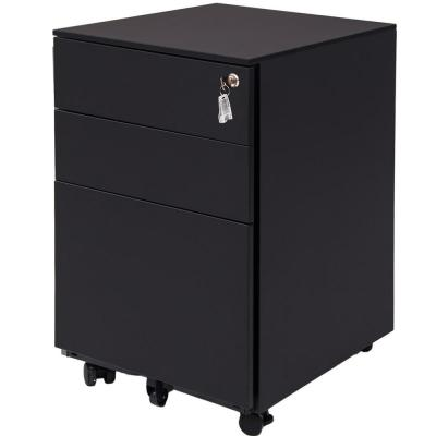 Black 3-Drawer Mobile Pedestal File Cabinet