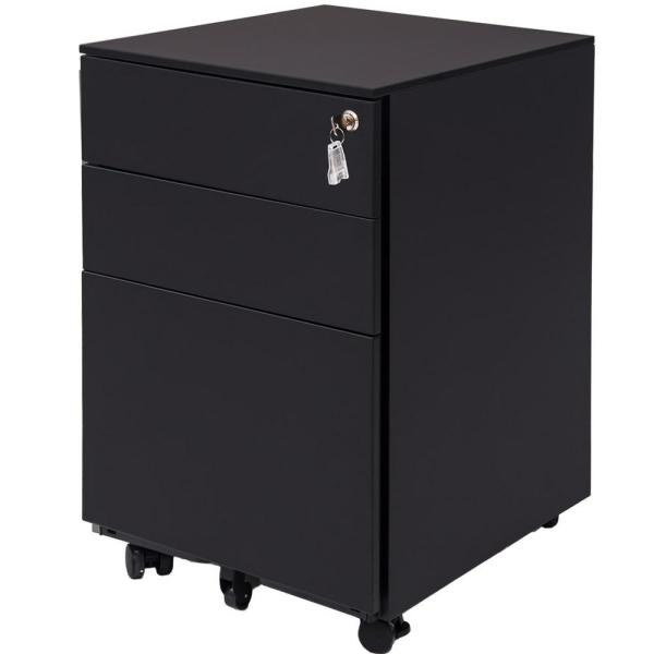Harper & Bright Designs Black 3-Drawer Mobile Pedestal File Cabinet