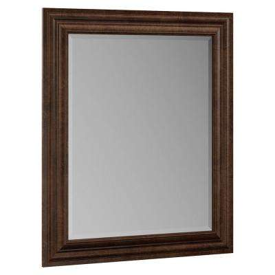Oxford 29 in. x 35 in. Single Framed Vanity Mirror in Toasted Sienna