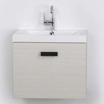 23.6 in. W x 18.2 in. H Bath Vanity in Gray with Resin Vanity Top in White with White Basin