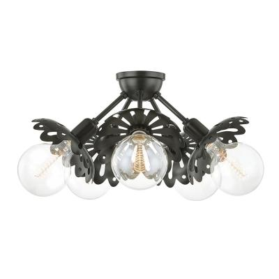 Alyssa 10.5 in. 5-Light Old Bronze Semi-Flush Mount