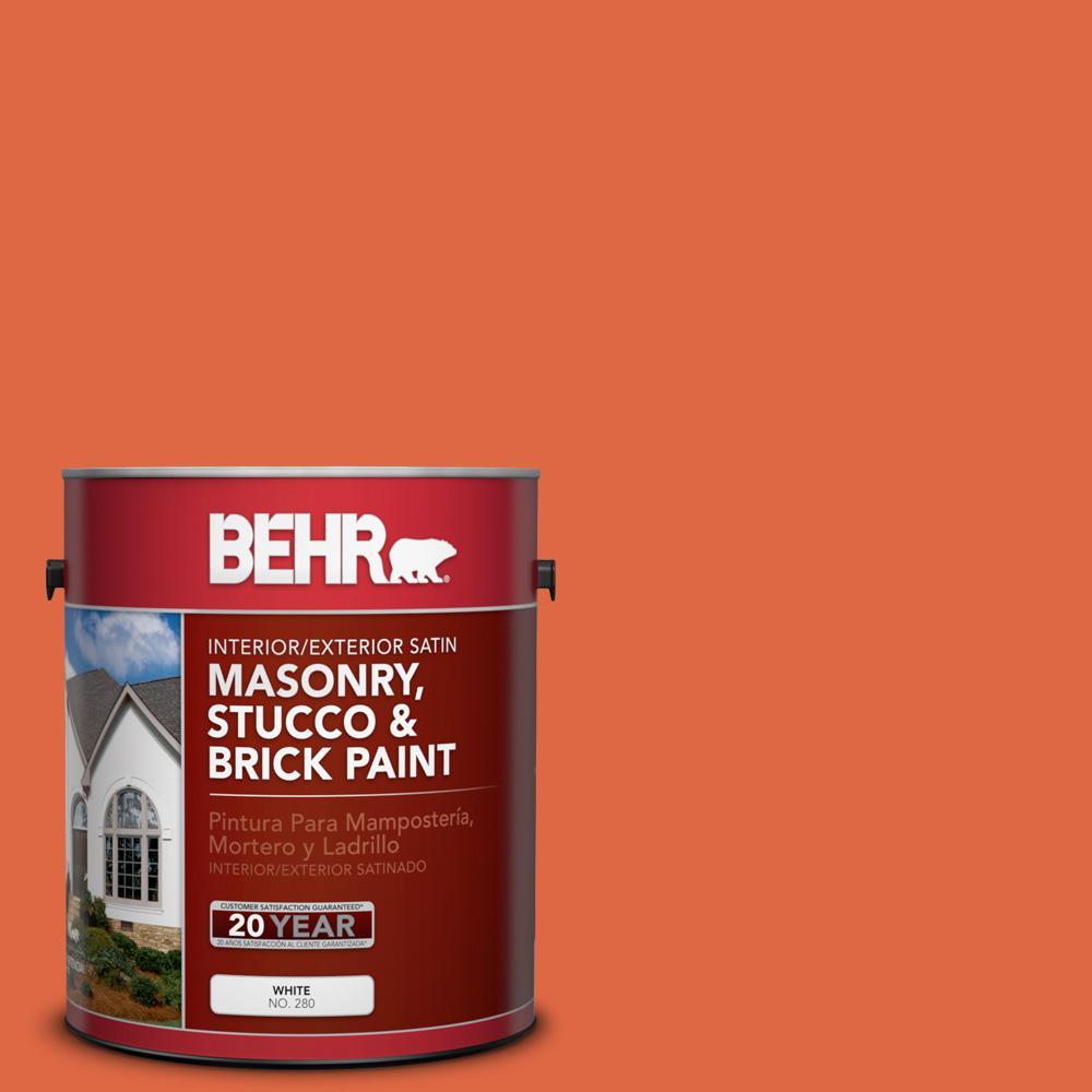 1 gal. #P200-7 Bonfire Night Satin Interior/Exterior Masonry, Stucco and Brick Paint