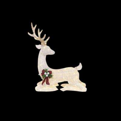 45 in. LED Lighted White PVC Sitting Deer