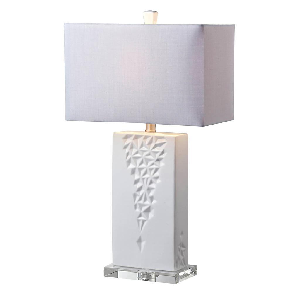 Springdale Lighting Logan 26.75 in. Clear Table Lamp with Fabric Shade