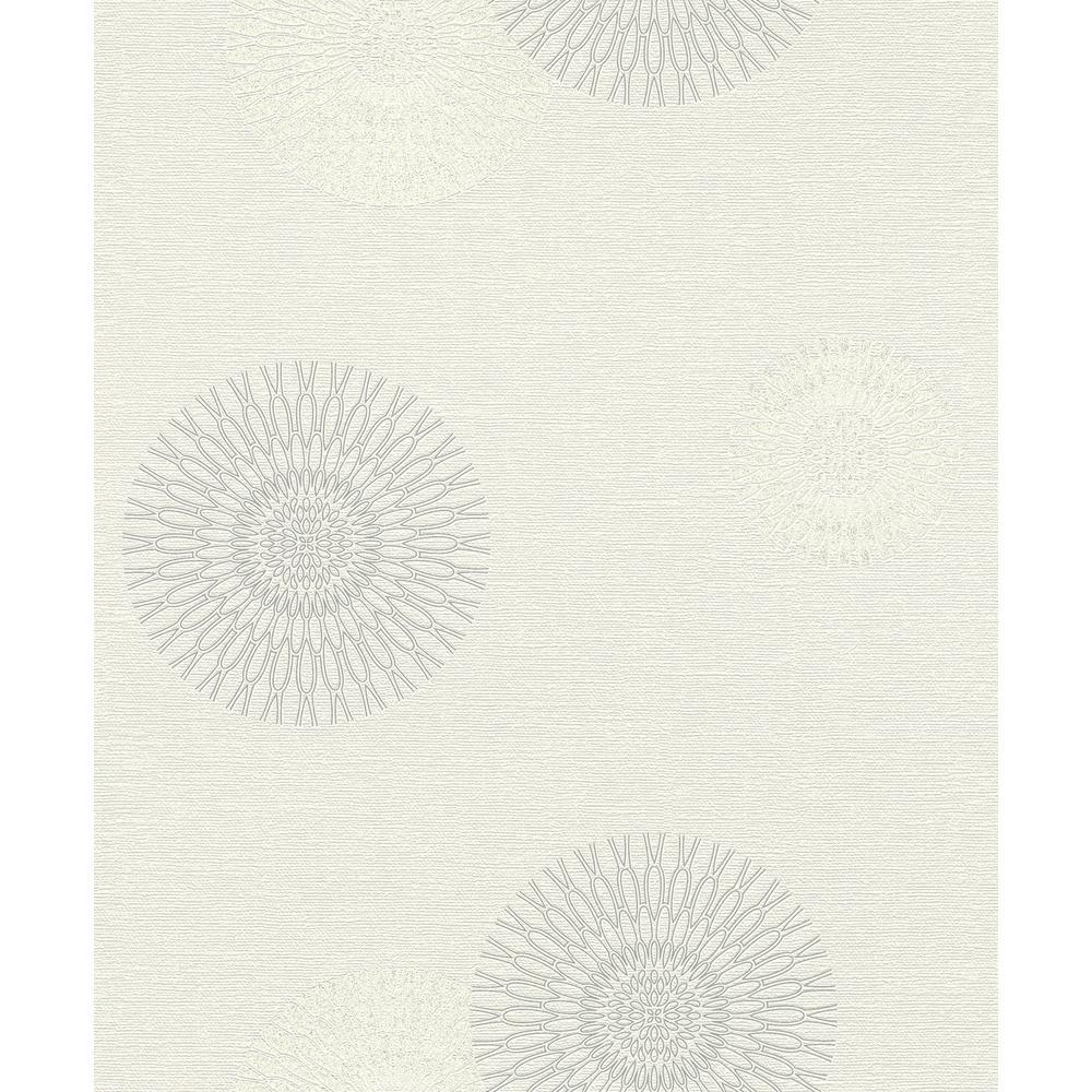 56.4 sq. ft. Eliel Off-White Medallion Wallpaper
