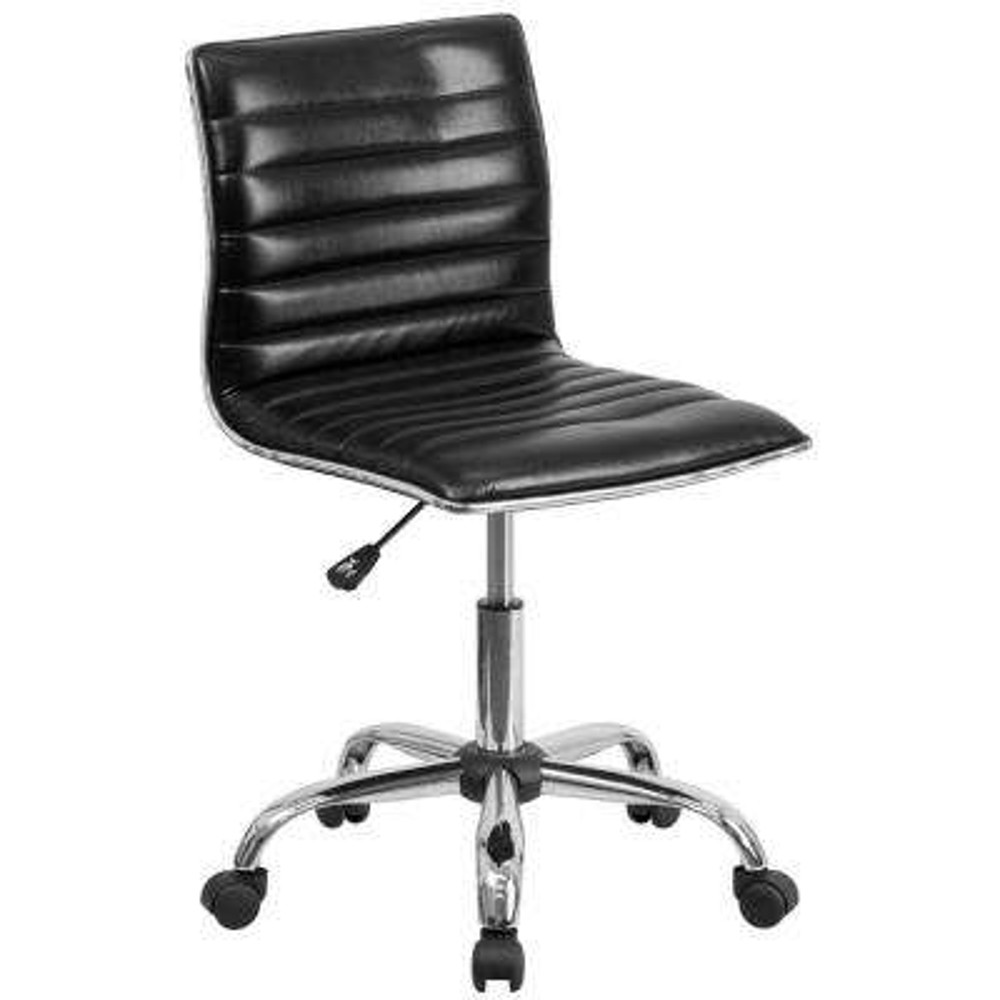 Low Back Armless Black Ribbed Designer Swivel Task Chair