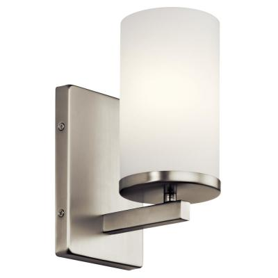 Crosby 1-Light Brushed Nickel Wall Sconce with Satin Etched Cased Opal Glass Shade
