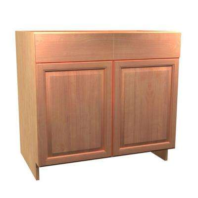 36x34.5x21 in. Ancona Vanity Sink Base Cabinet Pivot Waste Bin 2 Soft Close Doors and 2 False Drawer Fronts in Cumin