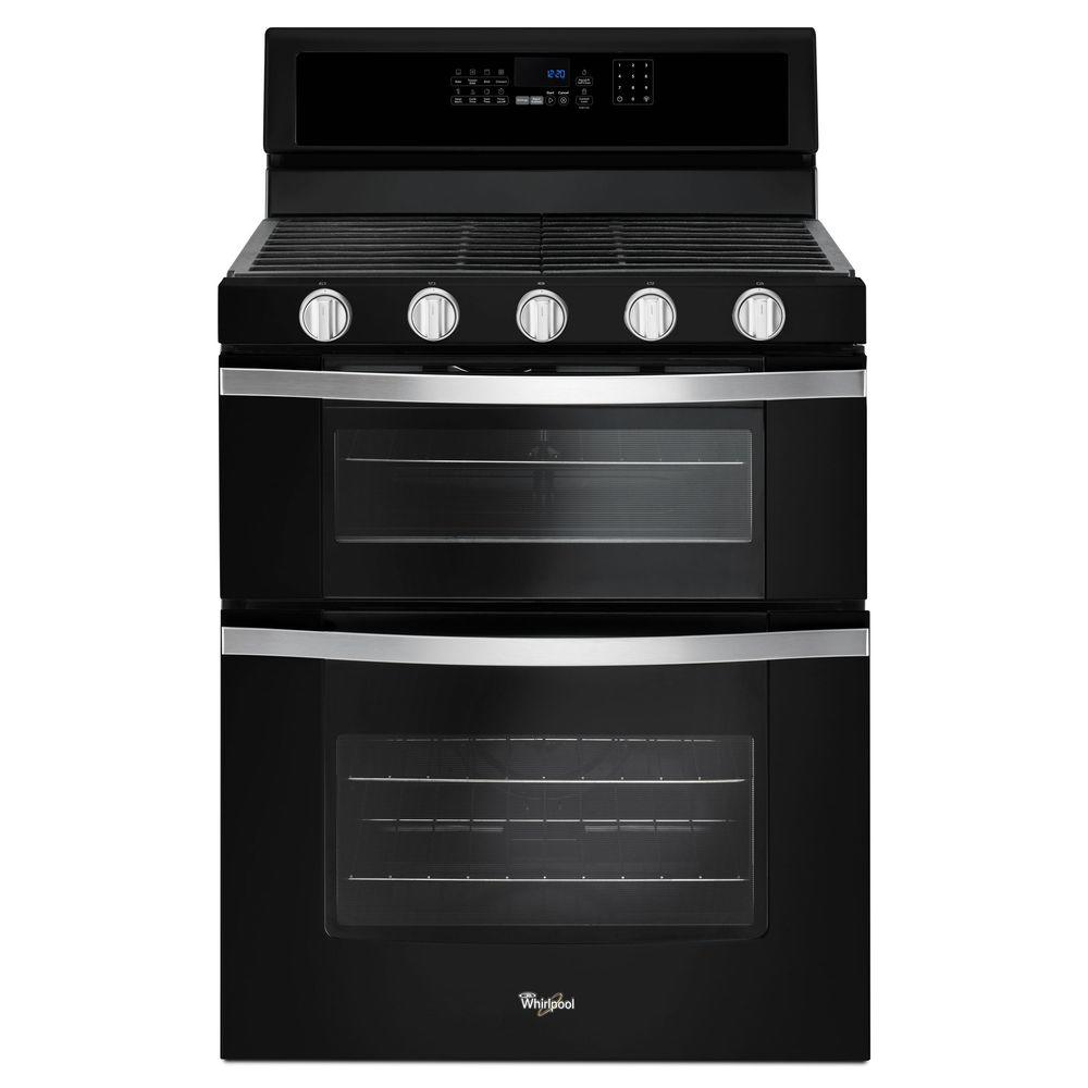 Whirlpool 6.0 cu. ft. Double Oven Gas Range with Center Oval Burner in Black Ice