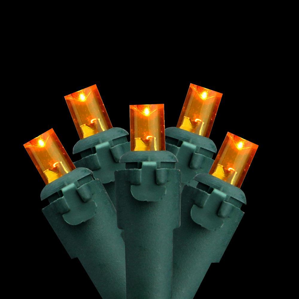 Set of 60 Amber-Orange LED Wide Angle Christmas Lights - Green Wire