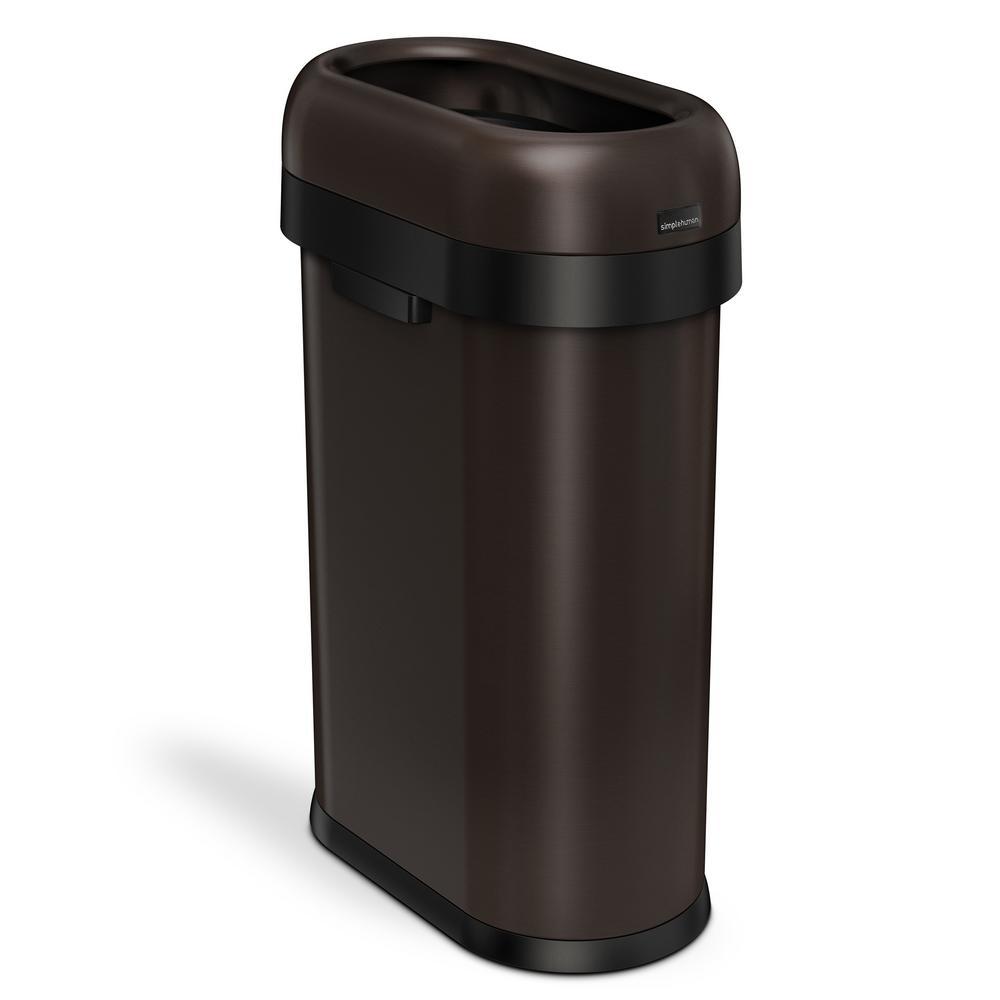 50-Liter/13 Gal. Dark Bronze Heavy-Gauge Stainless Steel Slim Open Top Commercial Trash Can