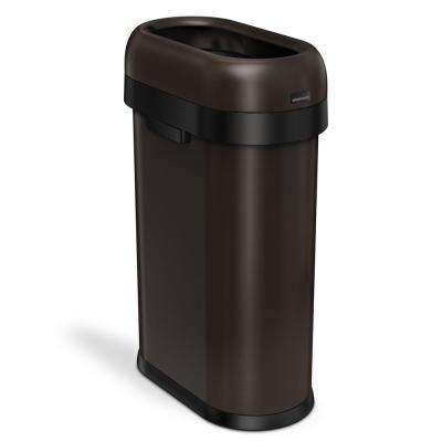 50-Liter Dark Bronze Heavy-Gauge Stainless Steel Slim Open Top Trash Can