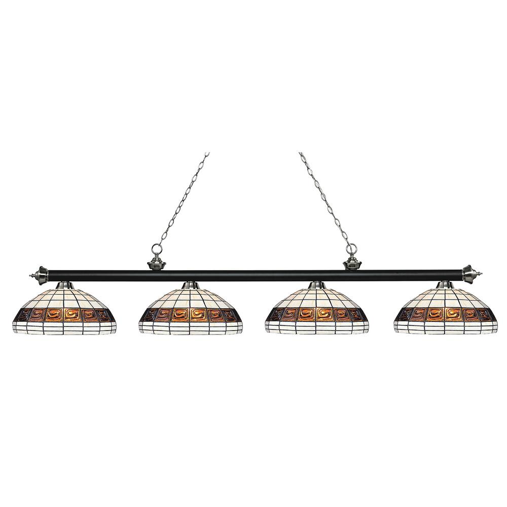 Filament Design Porter 4 Light Matte Black And Brushed Nickel Billiard Light With Multi Colored Tiffany Glass Shade