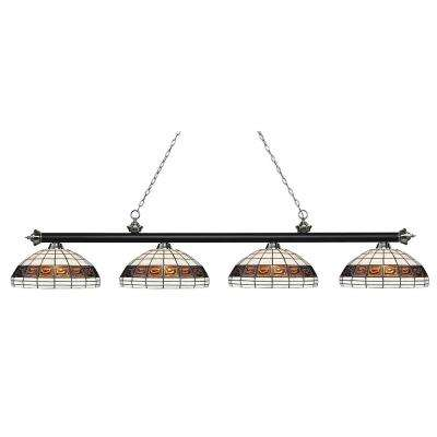Porter 4-Light Matte Black and Brushed Nickel Billiard Light with Multi Colored Tiffany Glass Shade