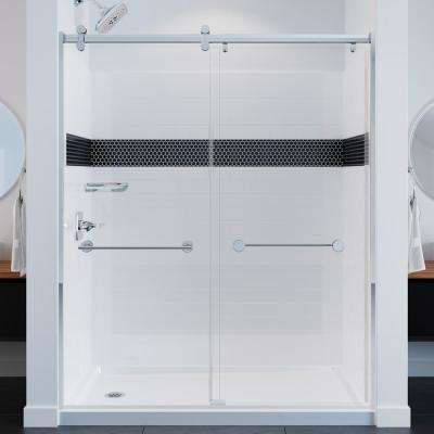 UPstile 32 in. x 60 in. x 74 in. 3-Piece Direct-to-Stud Alcove Shower Surround with Customizable Design in White