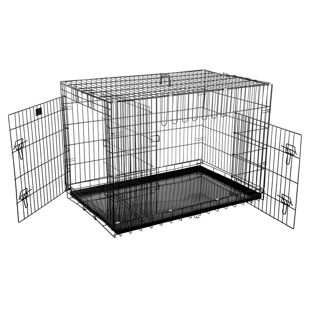 27 in. x 42 in. 2-Door Folding Pet Crate