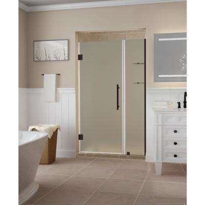 Belmore GS 42.25 in. to 43.25 in. x 72 in. Frameless Hinged Shower Door, Frosted Glass and Glass Shelves in Bronze