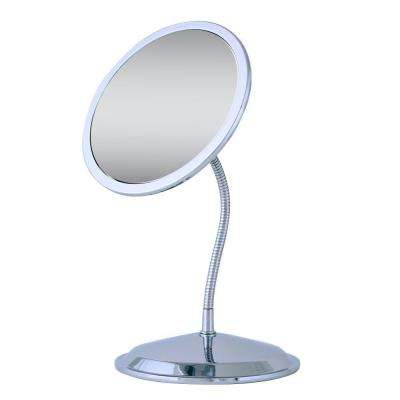 Double Vision Gooseneck Vanity Makeup Mirror in Chrome
