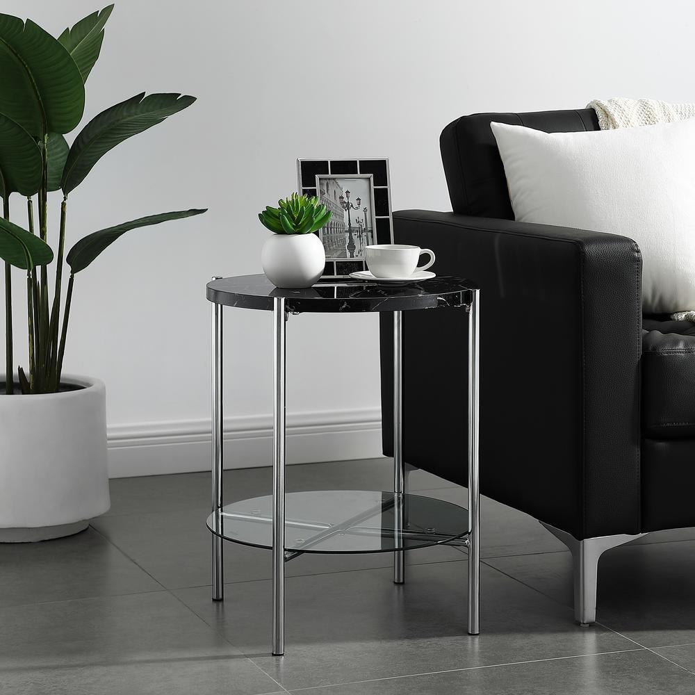 Walker Edison Furniture Company 20 in. Black Marble Top Glass Shelf ...