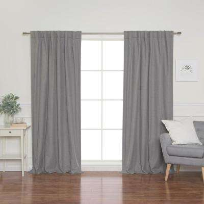 Linen Look 52 in. W x 96 in. L Back Tab Curtains in Grey (2-Pack)