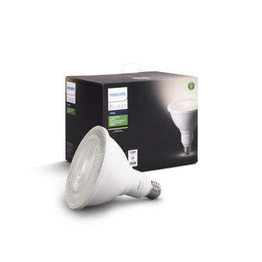 Hue 100-Watt Equivalent Bright White Outdoor Waterproof PAR38 LED Dimmable, Smart Wireless Flood Light Bulb
