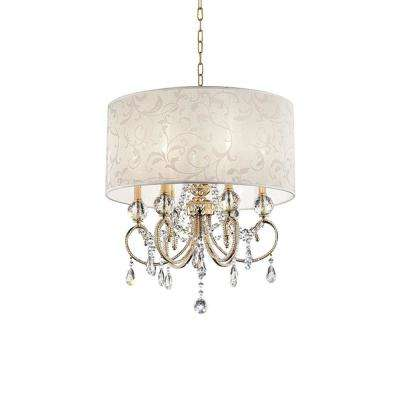 Aurora 24.5 in. 6-Light Crystal and Gold Chandelier with Barocco Print Linen Shade