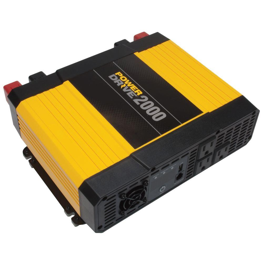 powerdrive 2 000 watt power inverter yellow black rppd2000 the home depot. Black Bedroom Furniture Sets. Home Design Ideas