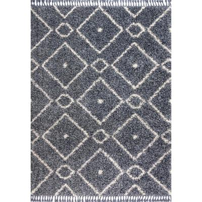 Mercer Shag Plush Tassel Moroccan Diamond Denim Blue/Cream 4 ft. x 6 ft. Area Rug